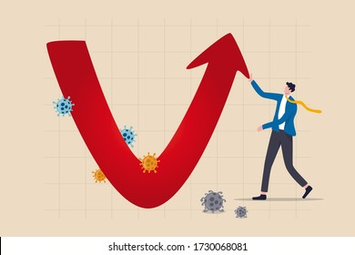 Economic V shape recovery after Coronavirus COVID-19 crash concept, businessman professional analyse world economic, business will recover and restore with v shape graph and chart with virus pathogen