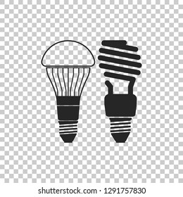 Economical LED illuminated lightbulb and fluorescent light bulb icon isolated on transparent background. Save energy lamp. Flat design. Vector Illustration