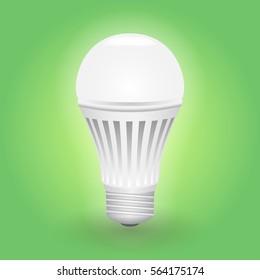 Economical LED illuminated lightbulb. Save energy lamp. Realistic vector illustration.
