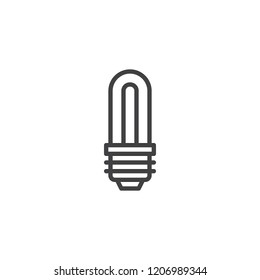 Economical LED lightbulb outline icon. linear style sign for mobile concept and web design. Save energy lamp simple line vector icon. Symbol, logo illustration. Pixel perfect vector graphics