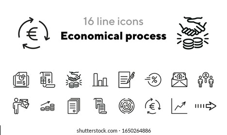 Economical process icons. Set of line icons. Document with seal, earnings growth, financial chart. Economics concept. Vector illustration can be used for topics like finance, business, banking