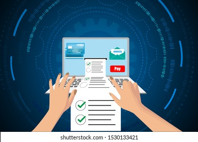 economics onlines and payment invoices by internet. business technology development abstract background. hands typing on keybroad.
