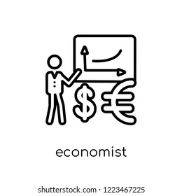 Economist icon. Trendy modern flat linear vector Economist icon on white background from thin line Cryptocurrency economy and finance collection, editable outline stroke vector illustration