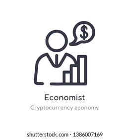 economist outline icon. isolated line vector illustration from cryptocurrency economy collection. editable thin stroke economist icon on white background