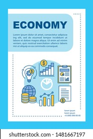 Economy brochure template layout. Economic development. Flyer, booklet, leaflet print design with linear illustrations. Vector page layouts for magazines, annual reports, advertising posters