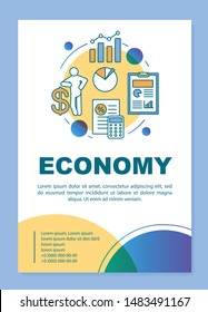 Economy brochure template layout. Economic system. Flyer, booklet, leaflet print design with linear illustrations. Vector page layouts for magazines, annual reports, advertising posters