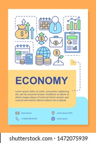Economy brochure template layout. Financial management. Flyer, booklet, leaflet print design with linear illustrations. Vector page layouts for magazines, annual reports, advertising posters