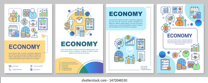 Economy brochure template layout. Flyer, booklet print design with linear illustrations. Manufacturing and merchandising. Vector page layouts for magazines, annual reports, advertising posters