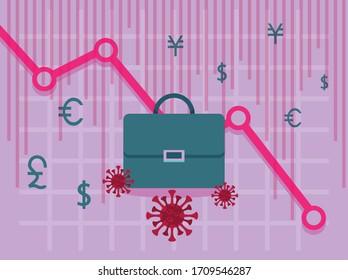 economy and covid19 statistics with arrows and portfolio vector illustration design