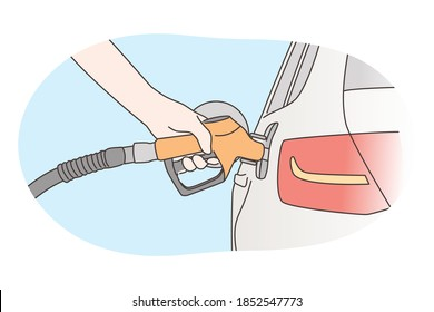 Economy, filling, petrol concept. Human hand refueling car on fuel station or pumping petroleum gasoline oil. Service fulfilling gas biodiesel into vehicle tank. Automotive industry transportation.