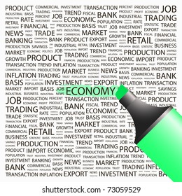 ECONOMY. Highlighter over background with different association terms. Vector illustration.