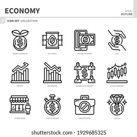 economy icon set,outline style,vector and illustration