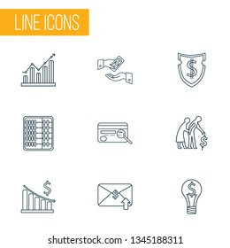 Economy icons line style set with email transfer, graph, money decrease and other pension elements. Isolated vector illustration economy icons.