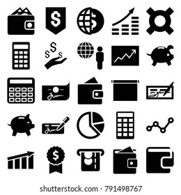 Economy icons. set of 25 editable filled economy icons such as wallet, calculator, pie chart, money growth, check, globe dollar, dollar award, globe and man, graph, chart