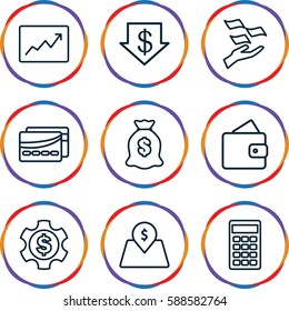 economy icons set. Set of 9 economy outline icons such as wallet, dollar down, money on hand, money sack, calculator, line graph, lot price, card