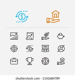 Economy icons set. Investment target and economy icons with investing diversification, stock news and analytics. Set of invention for web app logo UI design.