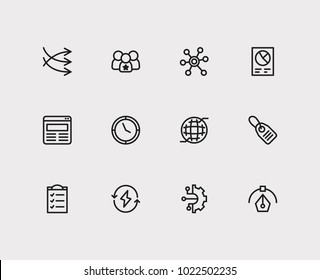 Economy icons set. Price tag and economy icons with business data, business technology and social media. Set of elements including time for web app logo UI design.