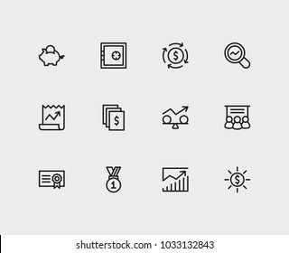 Economy icons set. Stock news and economy icons with market research, staff training and stability. Set of elements including reward for web app logo UI design.