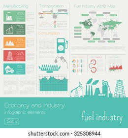 Economy and industry. Fuel industry. Industrial infographic template. Vector illustration