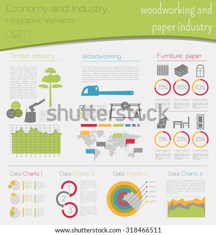 Economy Industry Woodworking Paper Industry Industrial Stock Vector