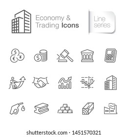 Economy & trading related icons. Industry, factory, office building, oil & gas, metal, wood.