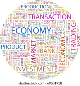ECONOMY. Word collage on white background. Illustration with different association terms.