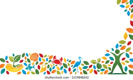 Ecosystem concept composed of silhouette of person, heron, crab, fish, shell, hand with plant and snail and green, blue, red and yellow leaves on white background. Vector image