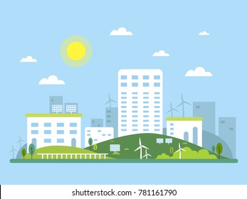 Ecosystem concept picture of urban landscape. Alternative energy solar and wind. Vector illustration