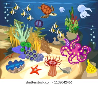 Ecosystem of coral reef with different marine inhabitants