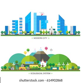 Ecosystem. Modern city and Ecological village