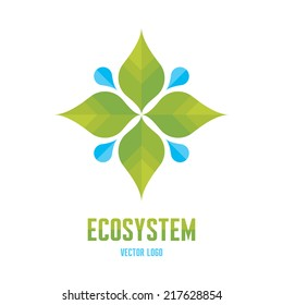 Ecosystem - vector logo template concept Illustration.  Abstract nature sign. Green leaves and water drops. Organic product ecology symbol. Design element.