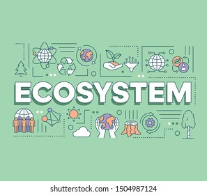 Ecosystem word concepts banner. Presentation, website. Sustainable living. Protection of nature and wild life. Isolated lettering typography idea with linear icons. Vector outline illustration