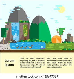 Eco-tourism. Hills landscape and camping Eco flat vector illustrations. Can be used for flyers, postcards, banners etc.