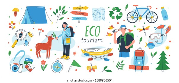 Ecotourism set. Collection of eco friendly tourism design elements isolated on white background - male and female tourists or ecologists, tent, backpack, kayak. Flat cartoon vector illustration.