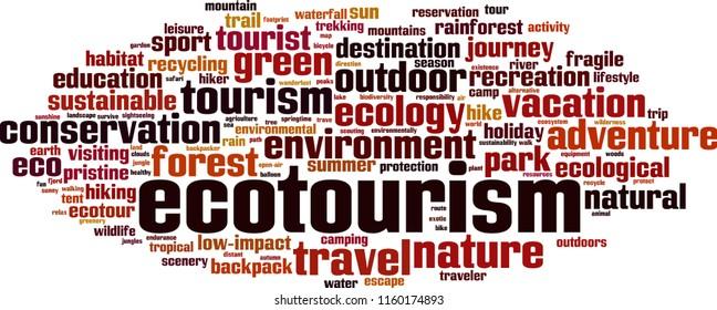Ecotourism word cloud concept. Vector illustration