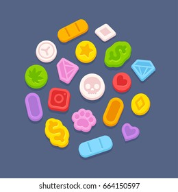 Ecstasy MDMA pills. Recreational party drugs concept, illegal drug market vector illustration. Substance abuse problem.
