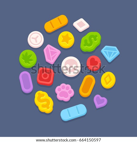 ecstasy mdma pills recreational party drugs stock vector royalty