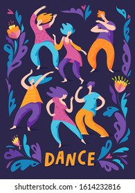 Ecstatic dance vector poster for cool dance party with men and woman dancing figers. Spontaneous dance poster with cool pattern.
