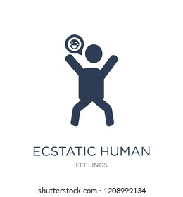 ecstatic human icon. Trendy flat vector ecstatic human icon on white background from Feelings collection, vector illustration can be use for web and mobile, eps10