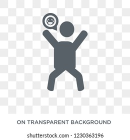 ecstatic human icon. Trendy flat vector ecstatic human icon on transparent background from Feelings collection.