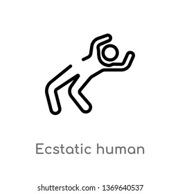 ecstatic human vector line icon. Simple element illustration. ecstatic human outline icon from feelings concept. Can be used for web and mobile