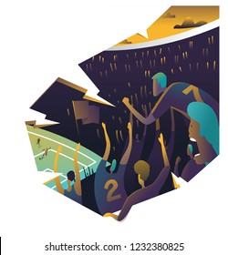 Ecstatic Soccer fans in a stadium chanting together. vintage vector illustration