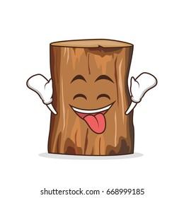 Ecstatic tree trunk character cartoon vector illustration