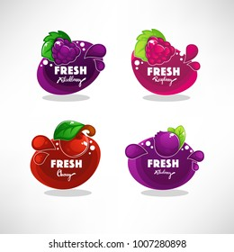 ector collection of bright bubbles frame  sticker, label, emblem and banners for berry  fresh juice