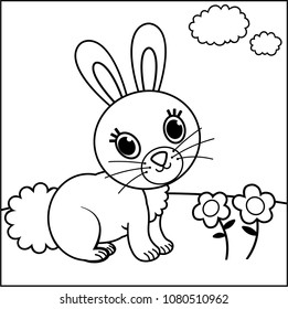 ector illustration of black and white rabbit for children. Painting activity.