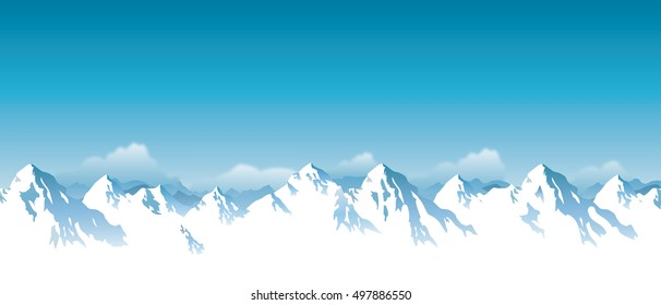 ector illustration of snowy Himalaya mountains