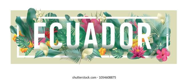Ecuador City Typographic Floral Framed Vector Card Design