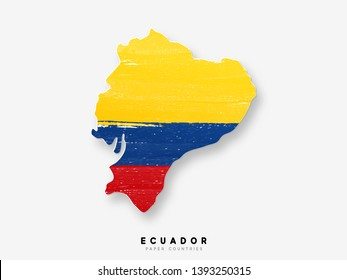 Ecuador Detailed map with flag. Painted in watercolor paint colors in the national flag.