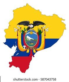Ecuador flag map