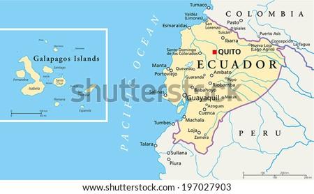 Galapagos On World Map.Ecuador Galapagos Islands Political Map Capital Stock Vector
